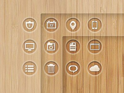 12个木头底纹的图标PSD素材
