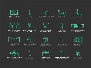 99个旅游名胜线型图标下载