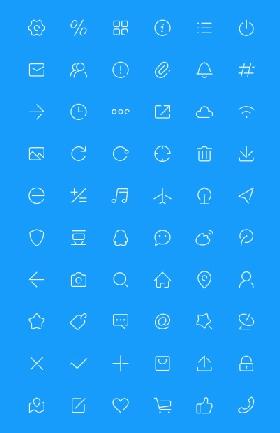 60个单色极简线条图标素材下载