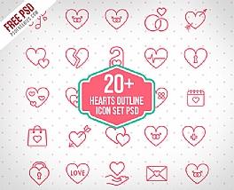 23个爱情主题线性图标素材