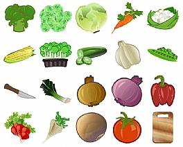 20个蔬菜水果厨房用具PNG图标
