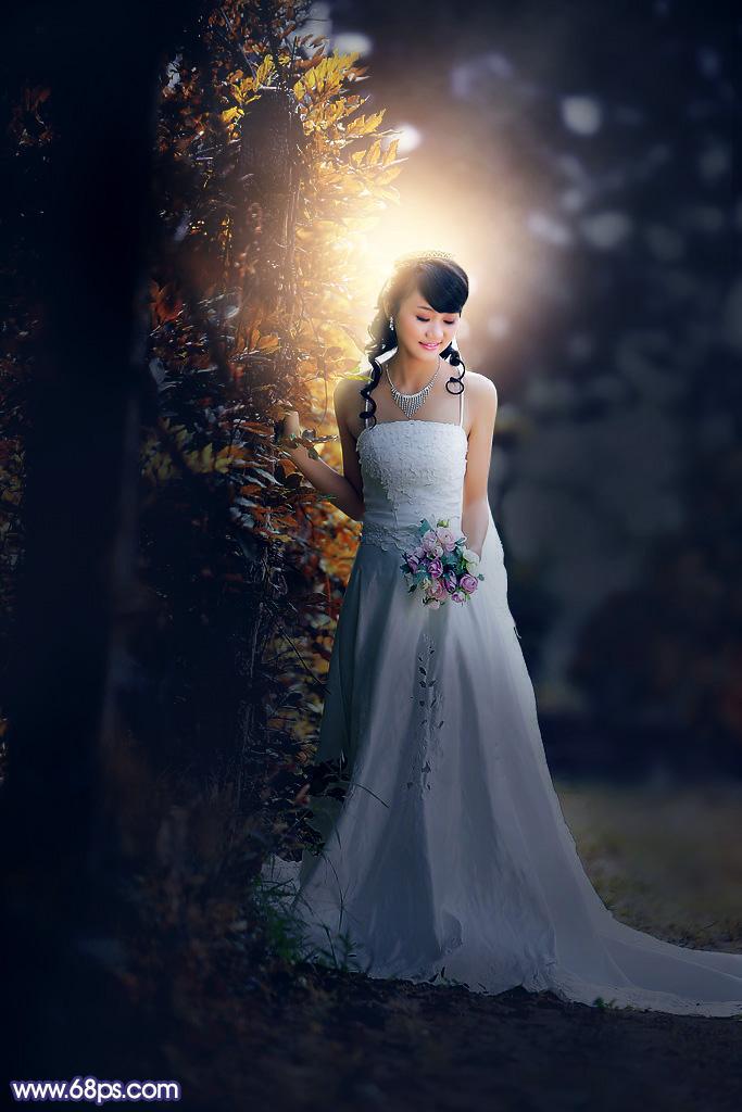 Photoshop打造暗调高对比秋季树林逆光婚片教程
