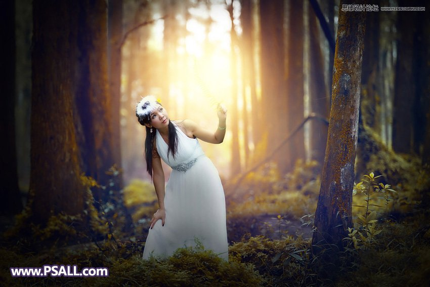 Photoshop给森林人像添加暖色逆光结果图教程